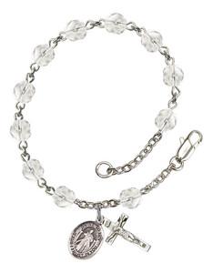 April Birthstone Bead Rosary Bracelet with Divine Mercy Charm, 7 1/2 Inch