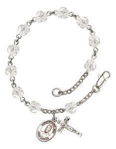 April Birthstone Bead Rosary Bracelet with Blessed Miguel Pro Charm, 7 1/2 Inch