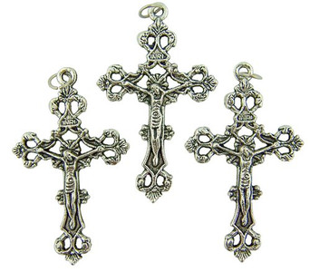 Lot of 3! Catholic Keepsake Gift or Rosary Part Oxidized Silver Tone Metal 1 3/4-inch Antique Style Cross Crucifix Pendant Charm