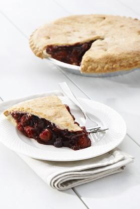 Bumbleberry Pie is a combination of cherries, blueberries, red raspberries, and blackberries.
