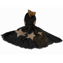 Scarf w. Large Sequin Stars - Gold on Black