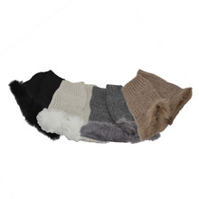 Knitted Fingerless Gloves with Rabbit Fur