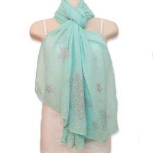 Mint Scarf with Studded Silver Stars