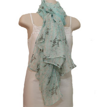 Lightweight Mint Scarf w. Star Pattern in 100 Rayon
