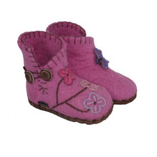 Hand Felted Toddler Slippers in Pink with Butterflies