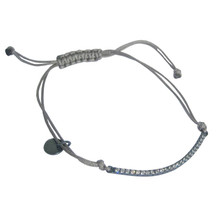 Grey Square Knotted Bracelet with Curved Silver Pendant