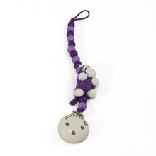 Purple Binky Clip with Monkey