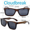 Cloudbreak Square Brown Bamboo Wood Sunglasses Dimensions Size