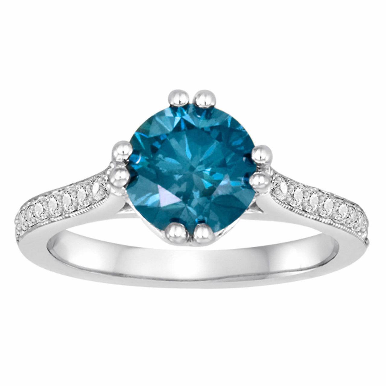 1 85 Carat Blue Diamonds Unique Engagement Ring 14k White