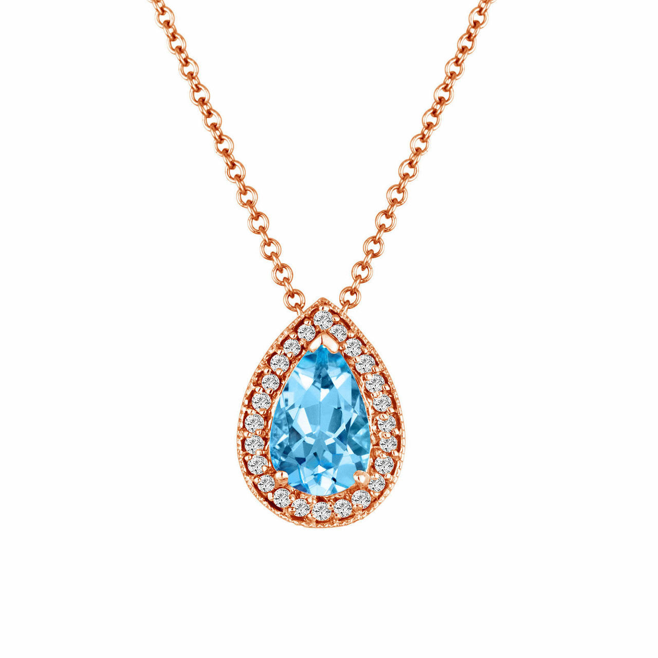 Aquamarine pendant rose gold pear shape aquamarine diamonds aquamarine pendant rose gold pear shape aquamarine diamonds pendant necklace 084 carat handmade aloadofball Image collections