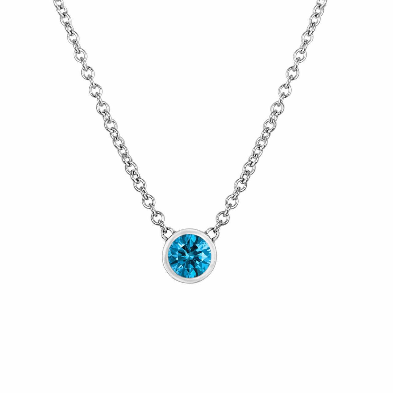 Blue diamond solitaire pendant diamond by the yard necklace blue diamond solitaire pendant diamond by the yard necklace solitaire pendant necklace 14k white gold handmade aloadofball Choice Image