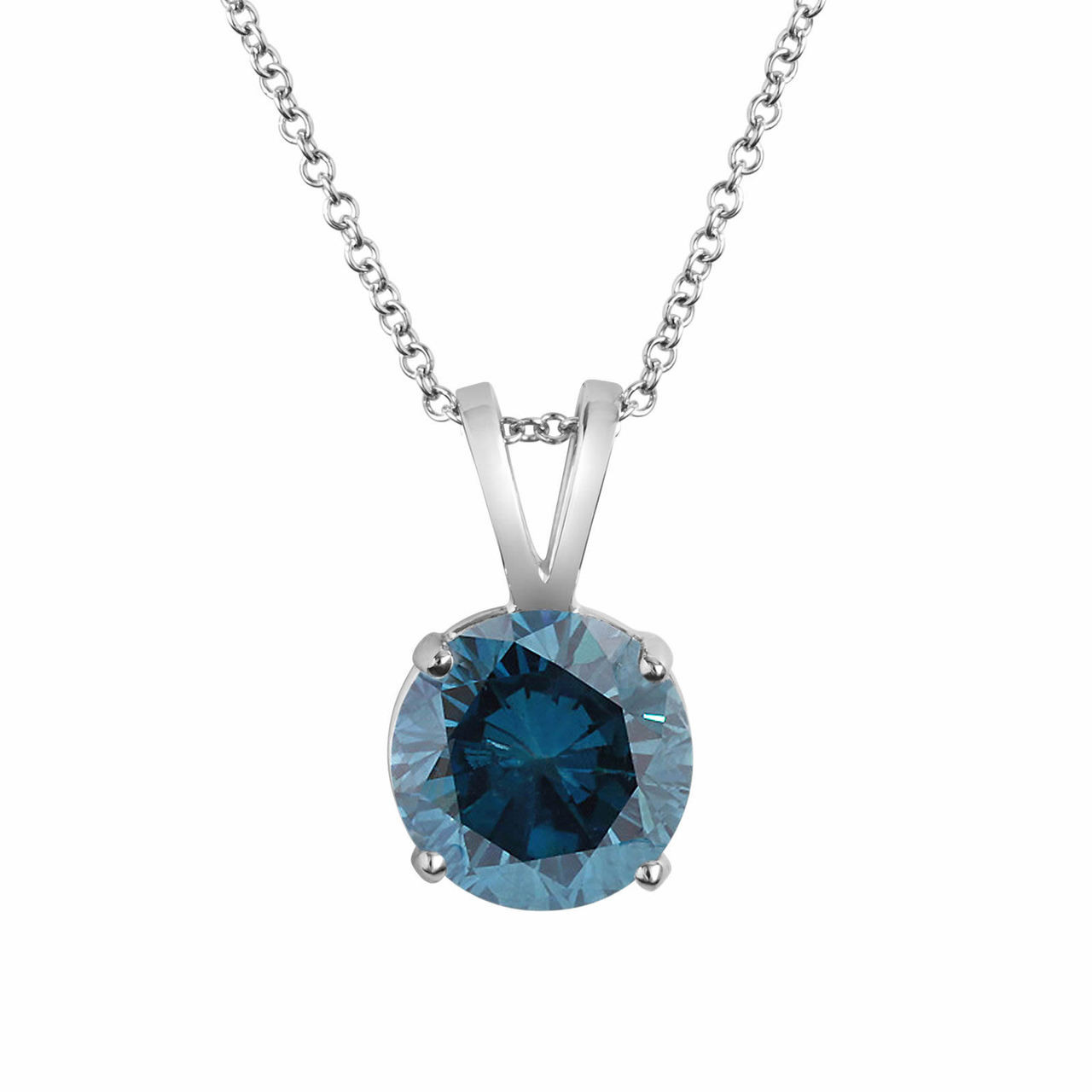 1 carat blue diamond solitaire pendant necklace certified 14k white 1 carat blue diamond solitaire pendant necklace certified 14k white gold handmade aloadofball Image collections