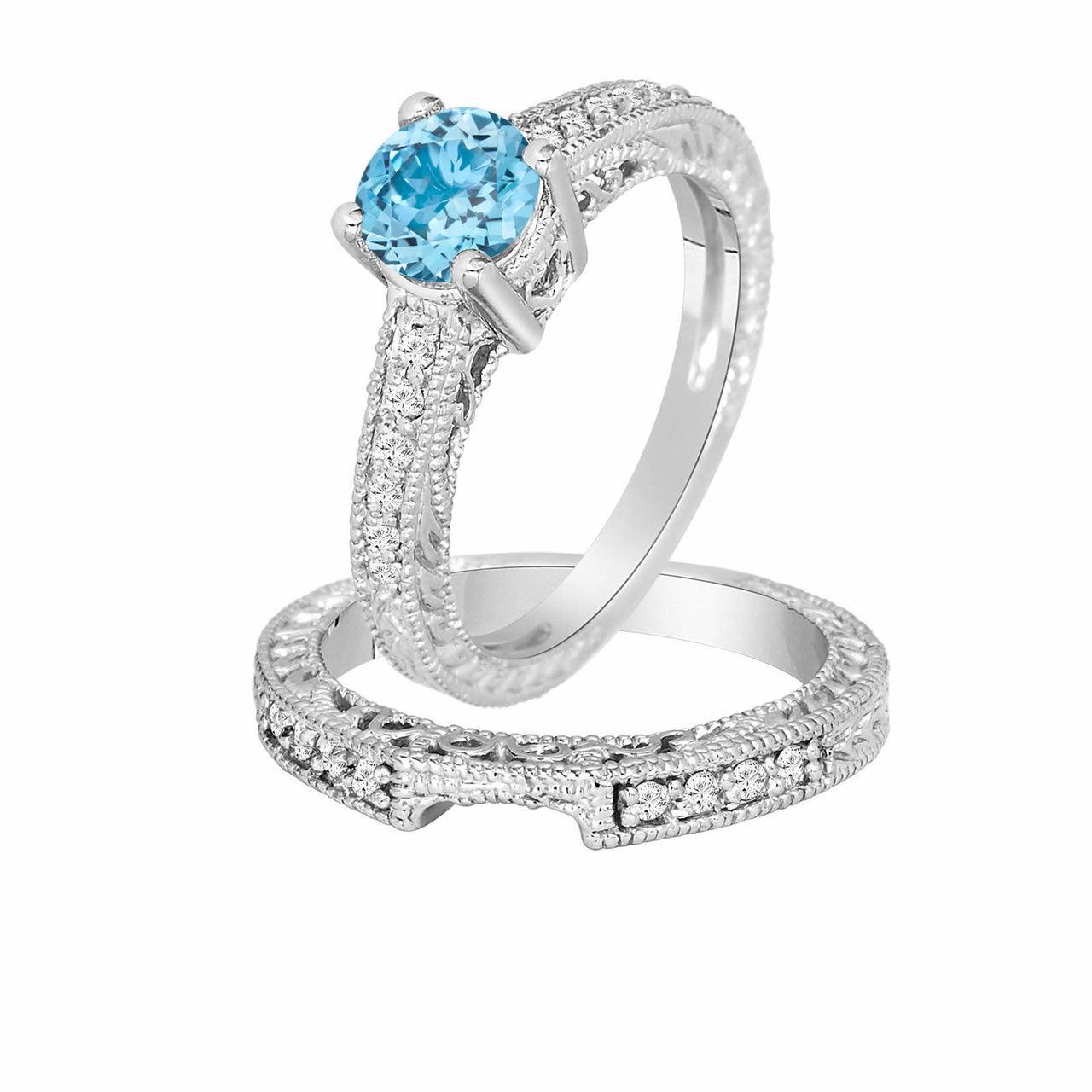 blue topaz engagement ring set wedding ring sets vintage. Black Bedroom Furniture Sets. Home Design Ideas