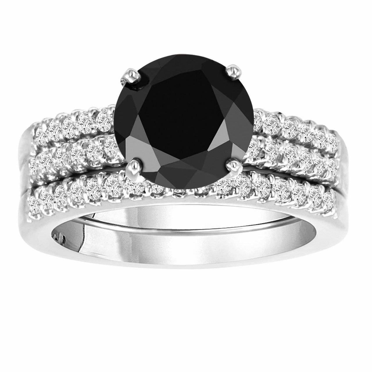 1 25ct Black Diamond Engagement Rings Set 14k White Gold: Black Diamond Engagement Ring Set, Wedding Anniversary