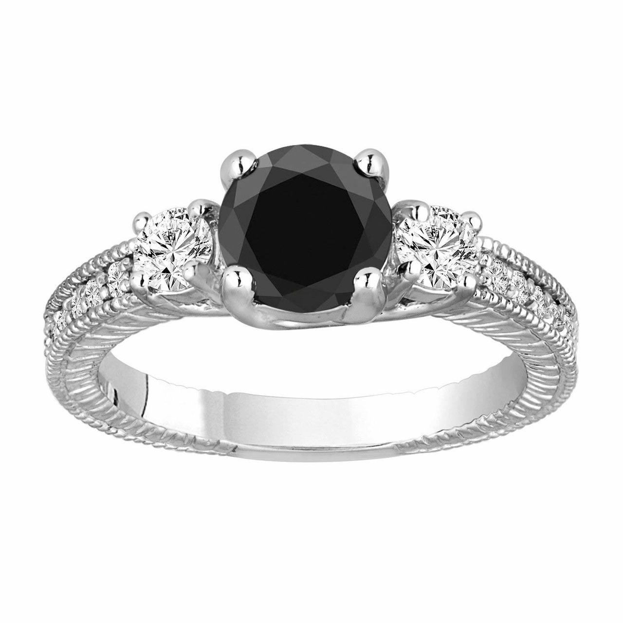 Engagement Rings Vintage Style: Platinum Black Diamond Engagement Ring, Vintage Engagement