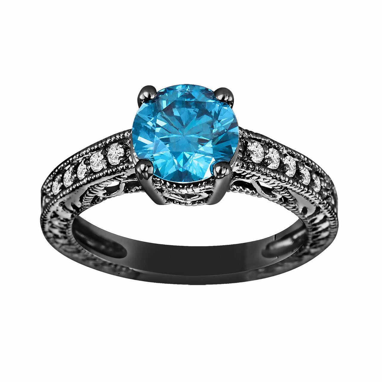 Fancy Blue Amp White Diamond Engagement Ring Vintage Style