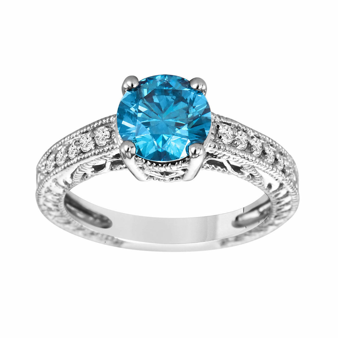 Fancy Blue Diamond Engagement Ring 14k White Gold