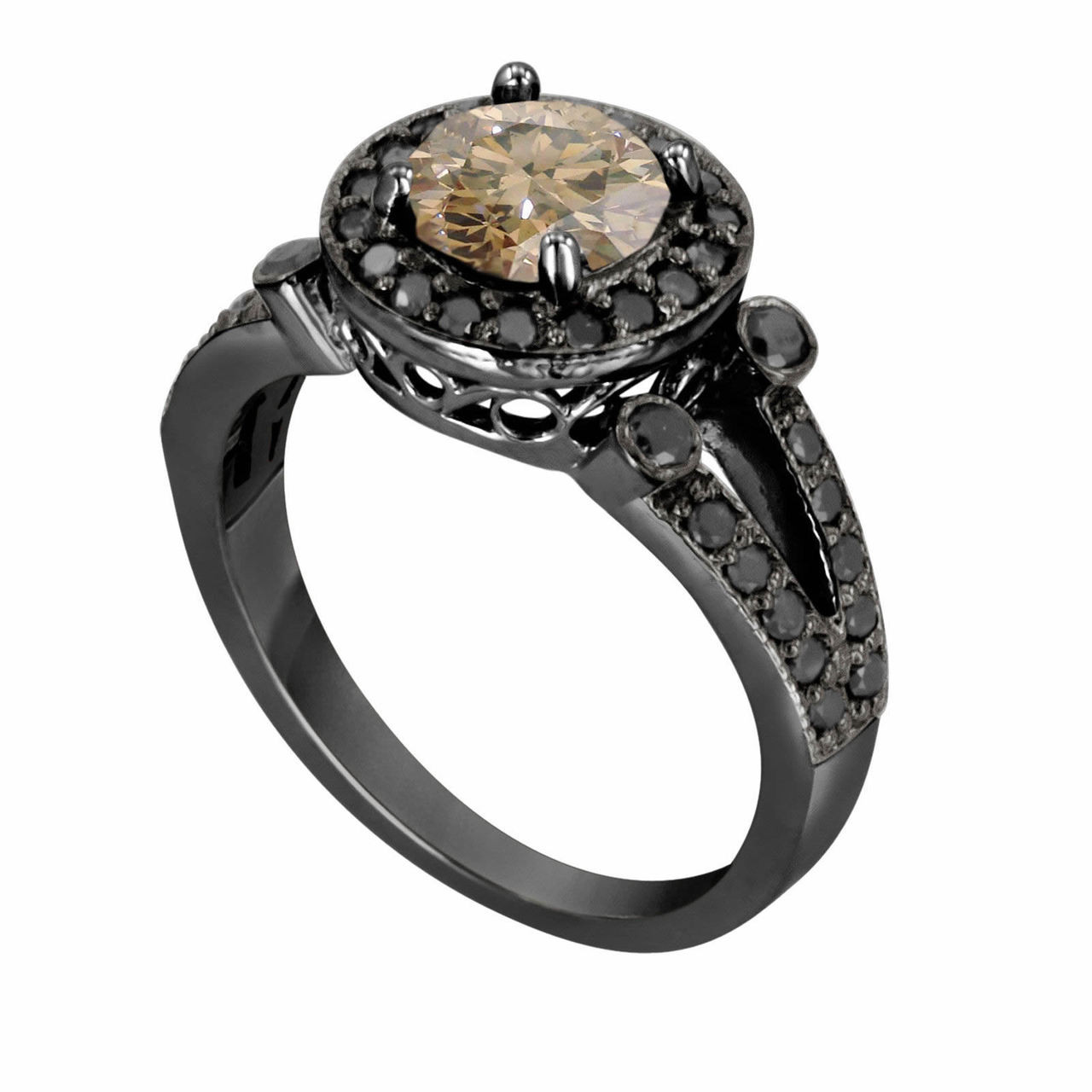 1.53 Carat Natural Champagne & Black Diamond Engagement