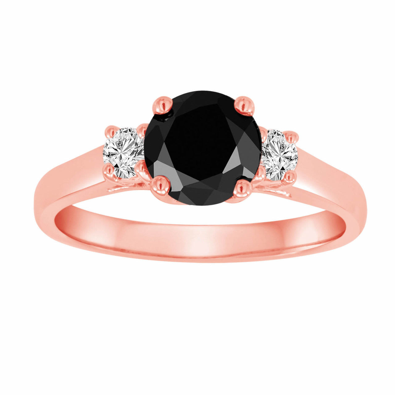 Black Amp White Diamond Engagement Ring Three Stone