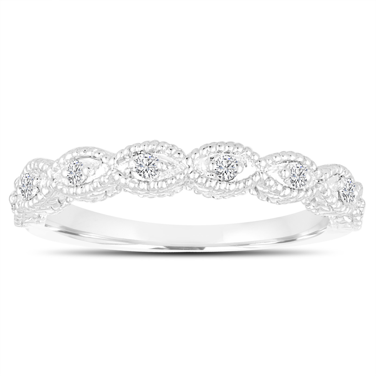 950 Platinum Wedding & Anniversary Diamonds Band 0.11