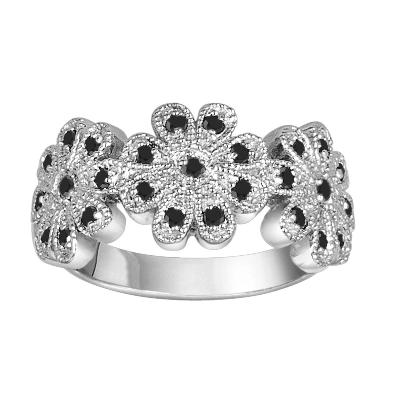 030 Carat Black Diamonds Flower Engagement Cocktail Ring 14k White