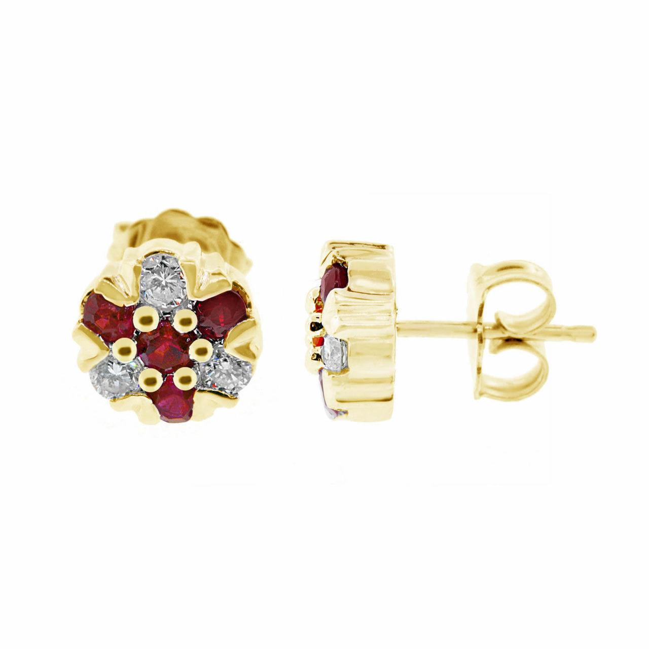 Ruby Stud Earrings Diamond Cluster Earrings Flower Earrings