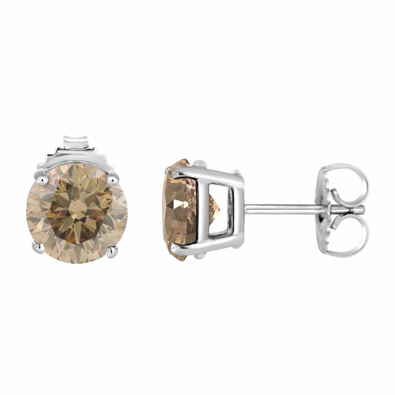 Platinum Champagne Diamond Stud Earrings 2 02 Carat