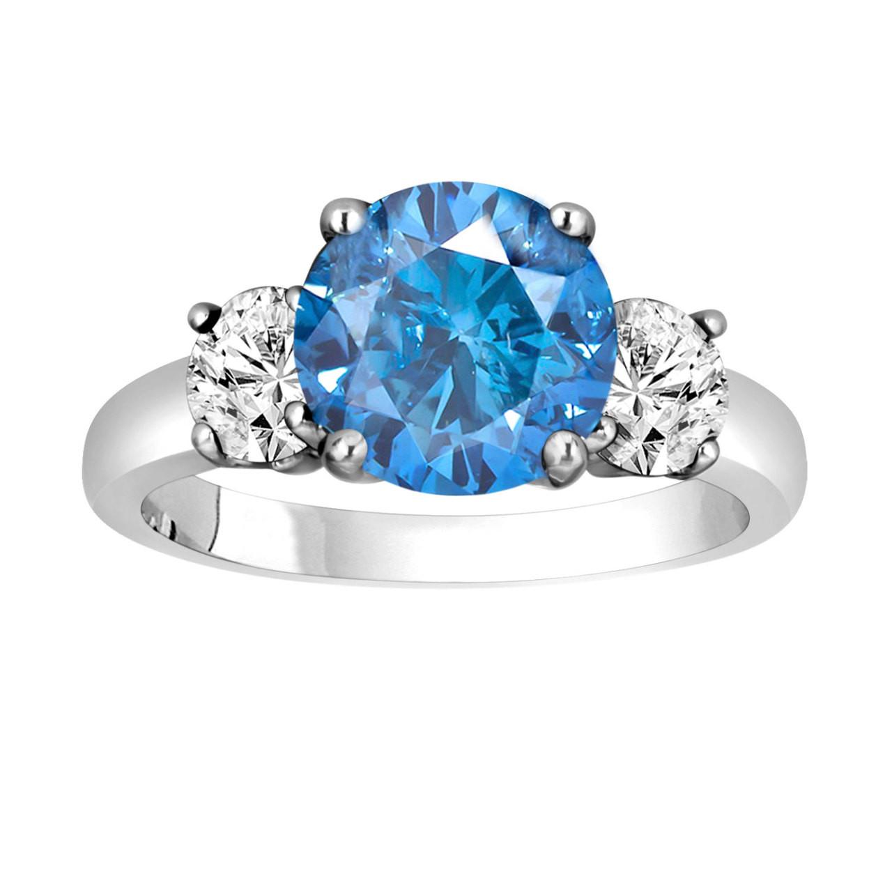 Blue Diamond Engagement Ring 2 45 Carat Three Stone 14k