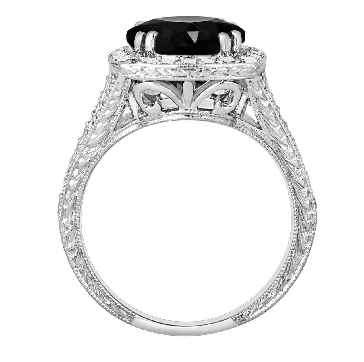 platinum fancy black diamond engagement ring antique