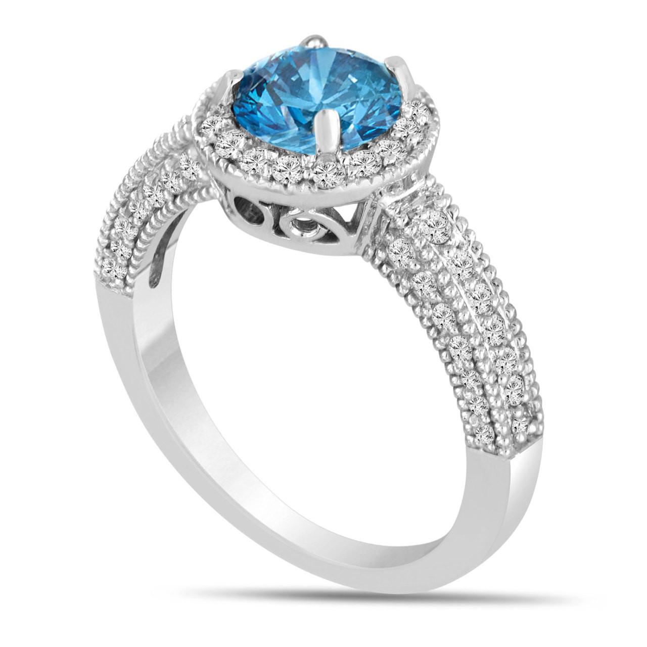Blue Diamond Platinum: Platinum Fancy Blue Diamond Engagement Ring 1.53 Carat