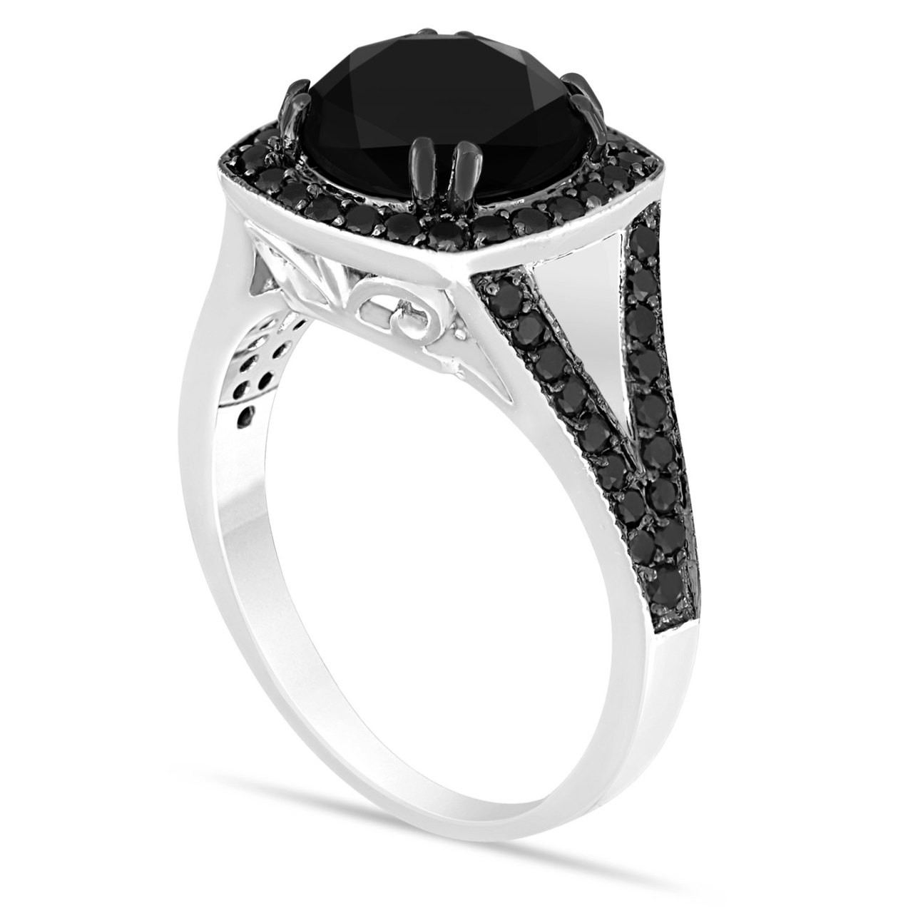 Antique Style 4 2mm Platinum Men S Wedding Band With: Platinum Huge Fancy Black Diamond Engagement Ring 4.12