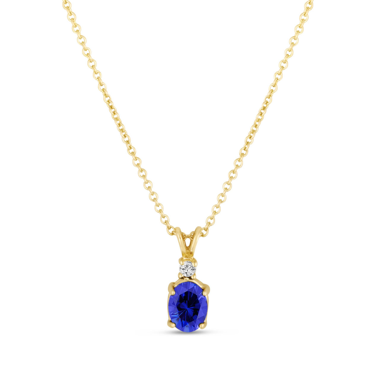 Oval blue sapphire diamond solitaire pendant necklace 14k yellow oval blue sapphire diamond solitaire pendant necklace 14k yellow gold 128 carat handmade aloadofball Image collections