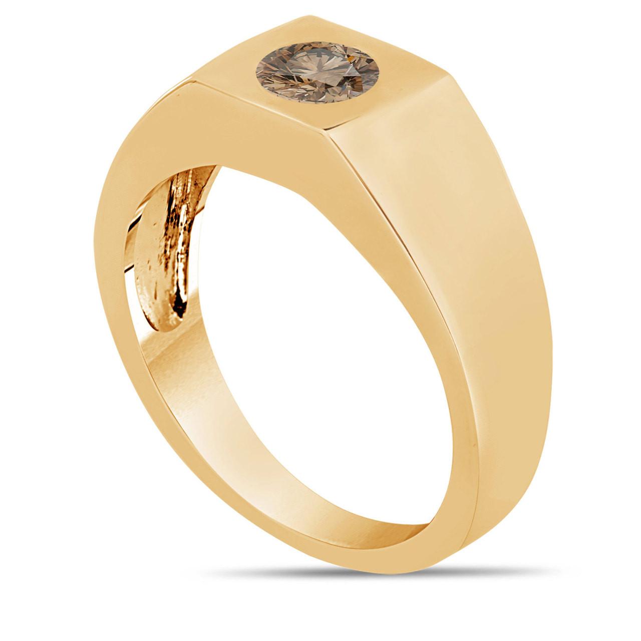 Champagne Brown Diamond Solitaire Men's Wedding Ring 14K ...