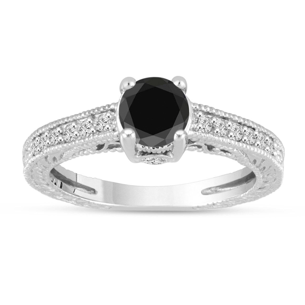 Antique Style 4 2mm Platinum Men S Wedding Band With: Black Diamond Engagement Ring 14K White Gold Vintage