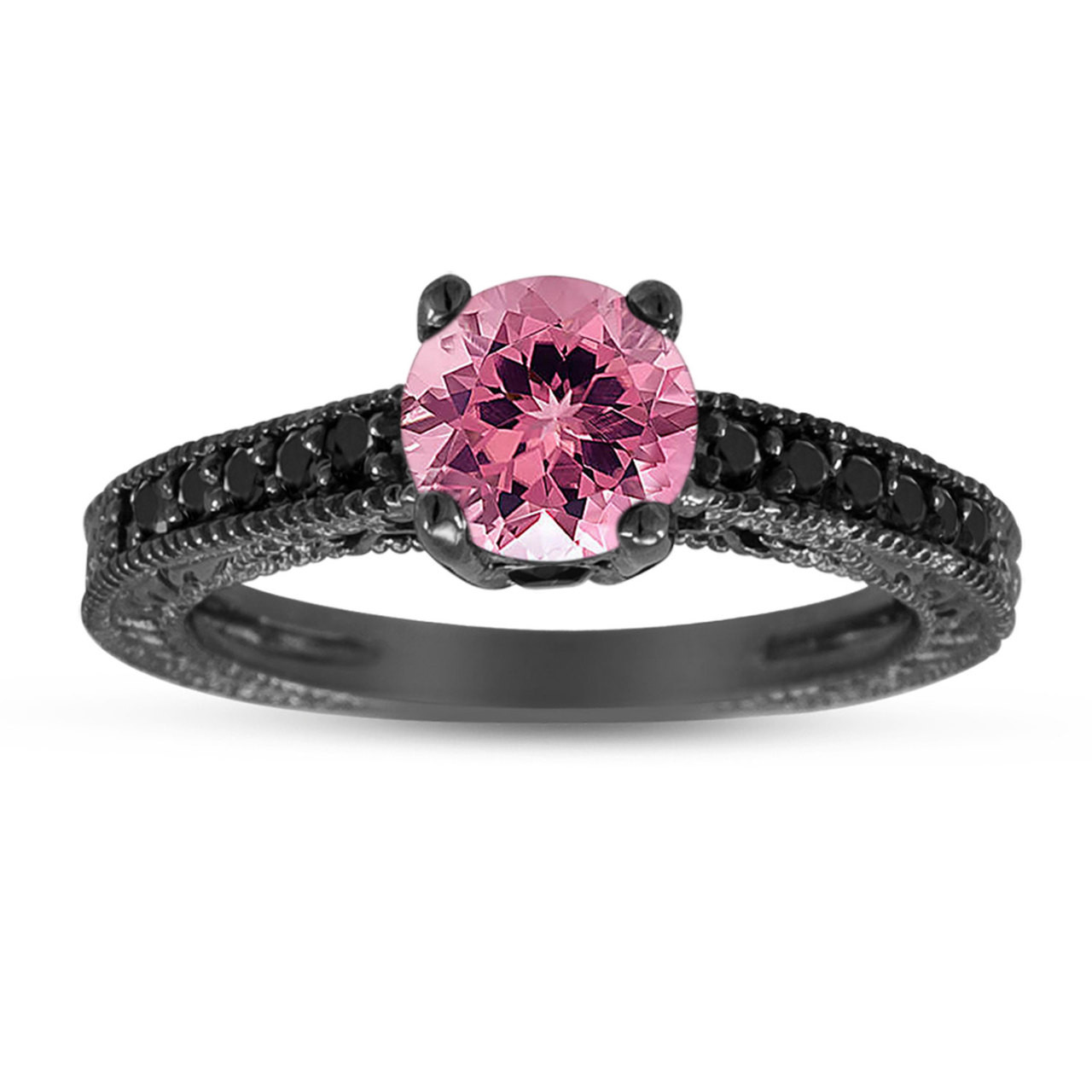 Black And Pink Diamond Engagement Rings: Pink Tourmaline & Black Diamond Engagement Ring 14K Black