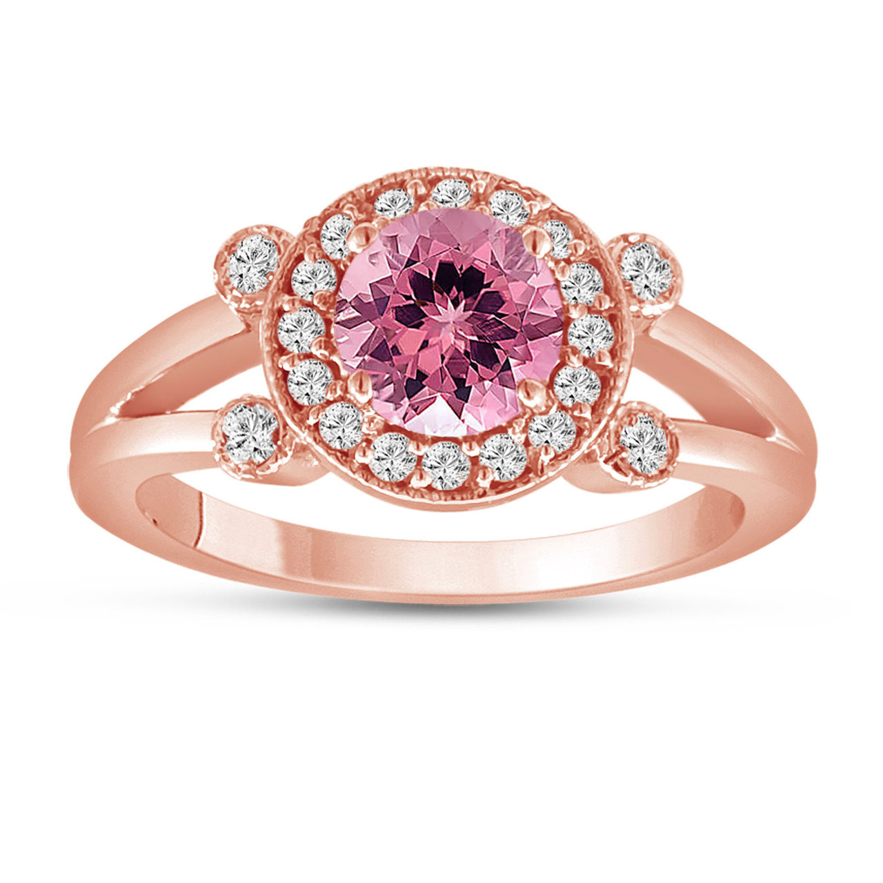 Pink Tourmaline and Diamond Engagement Ring 14k Rose Gold Unique ...