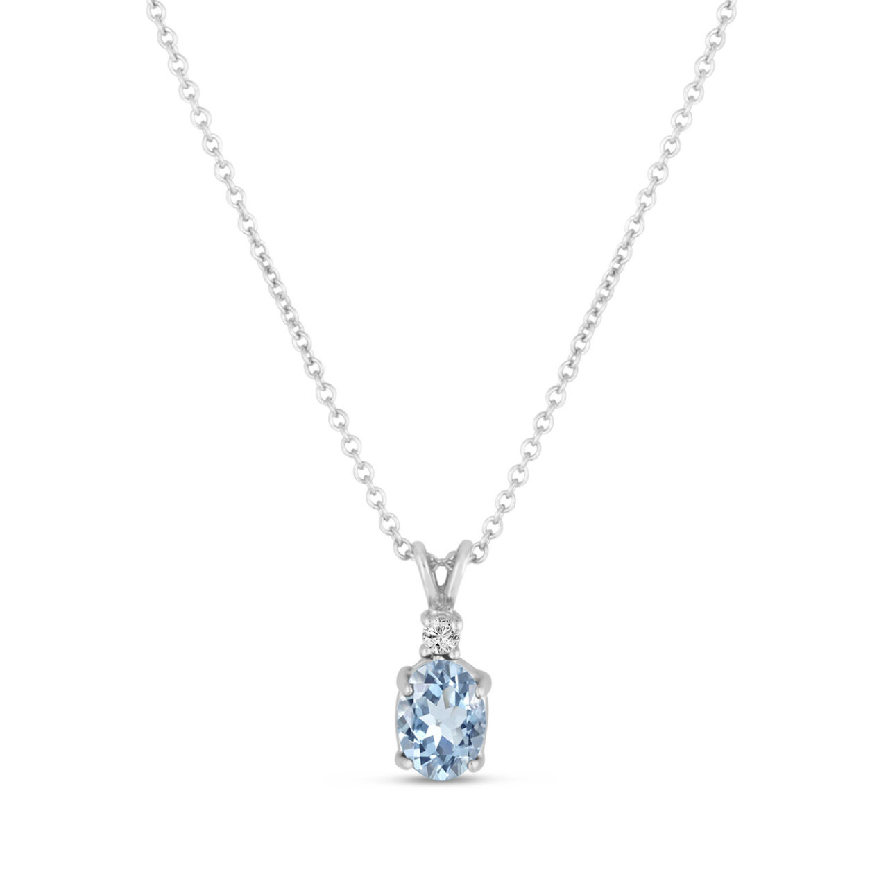 Oval aquamarine diamond solitaire pendant necklace 14k white gold oval aquamarine diamond solitaire pendant necklace 14k white gold 127 carat handmade aloadofball Image collections