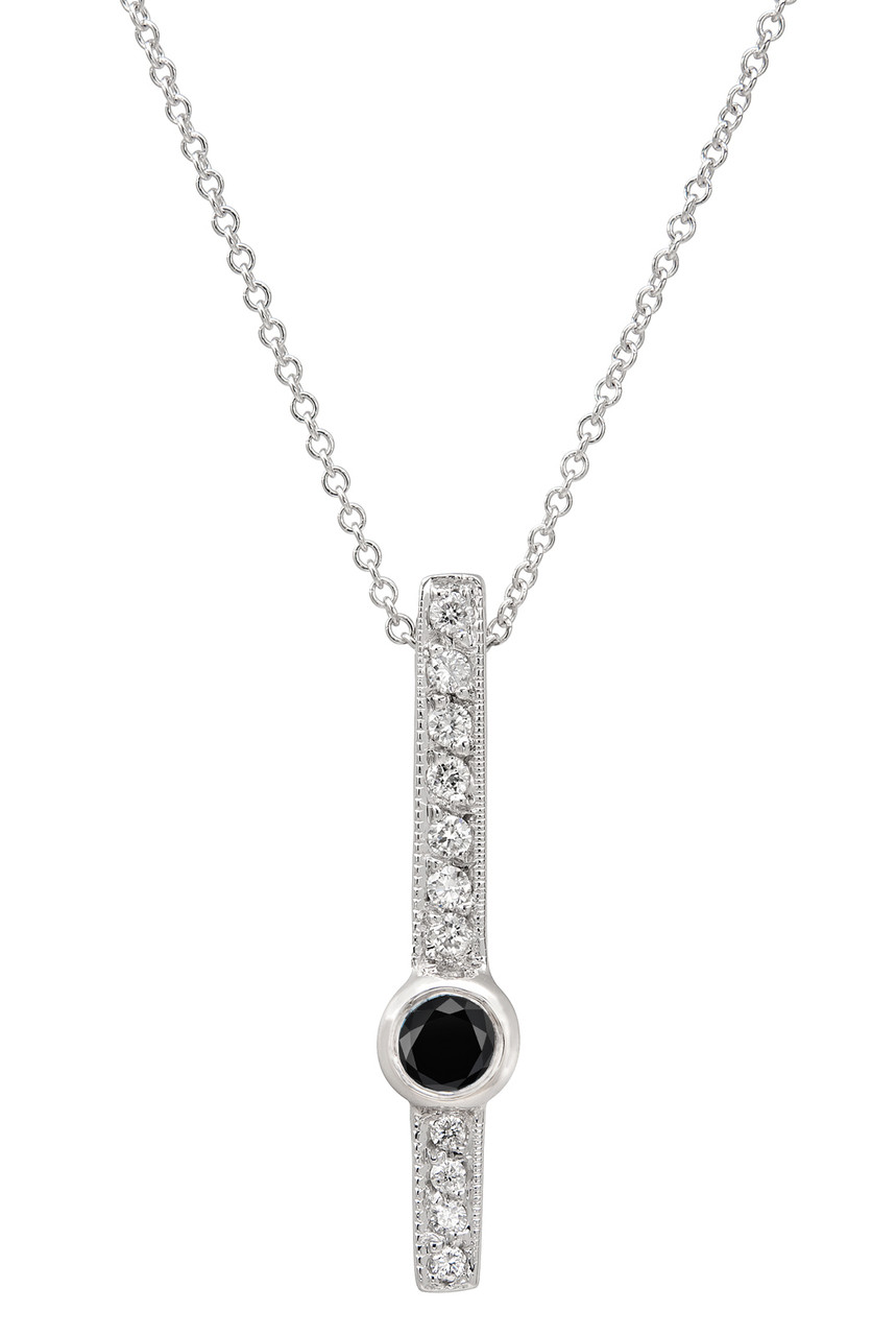 Black white diamond solitaire pendant necklace 14k white gold 043 black white diamond solitaire pendant necklace 14k white gold 043 carat heart love designs handmade aloadofball Images