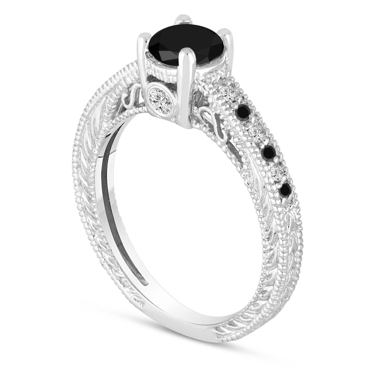 Natural Black Diamond Engagement Ring 14K White Gold