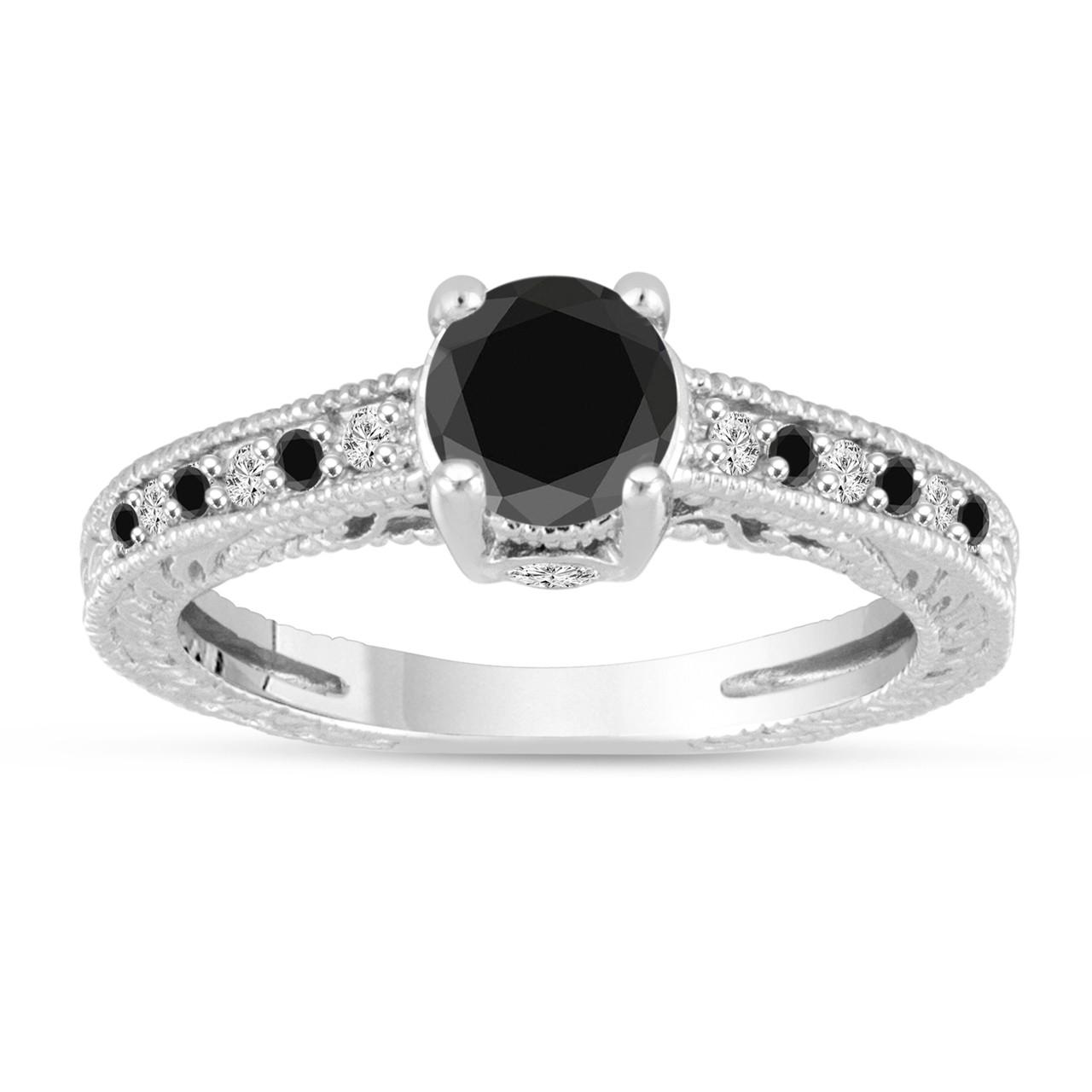 Antique Style 4 2mm Platinum Men S Wedding Band With: Platinum Black And White Diamonds Engagement Ring Vintage