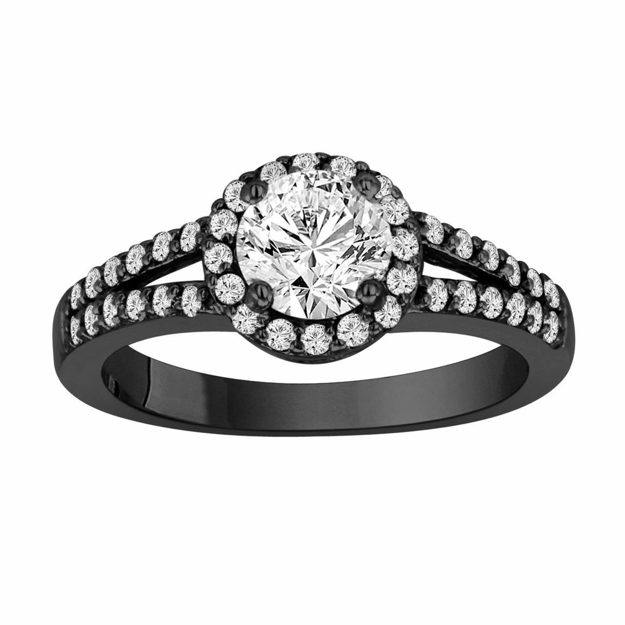 Antique Style 4 2mm Platinum Men S Wedding Band With: 14k Black Gold Diamond Engagement Ring 1.34 Carat Vintage