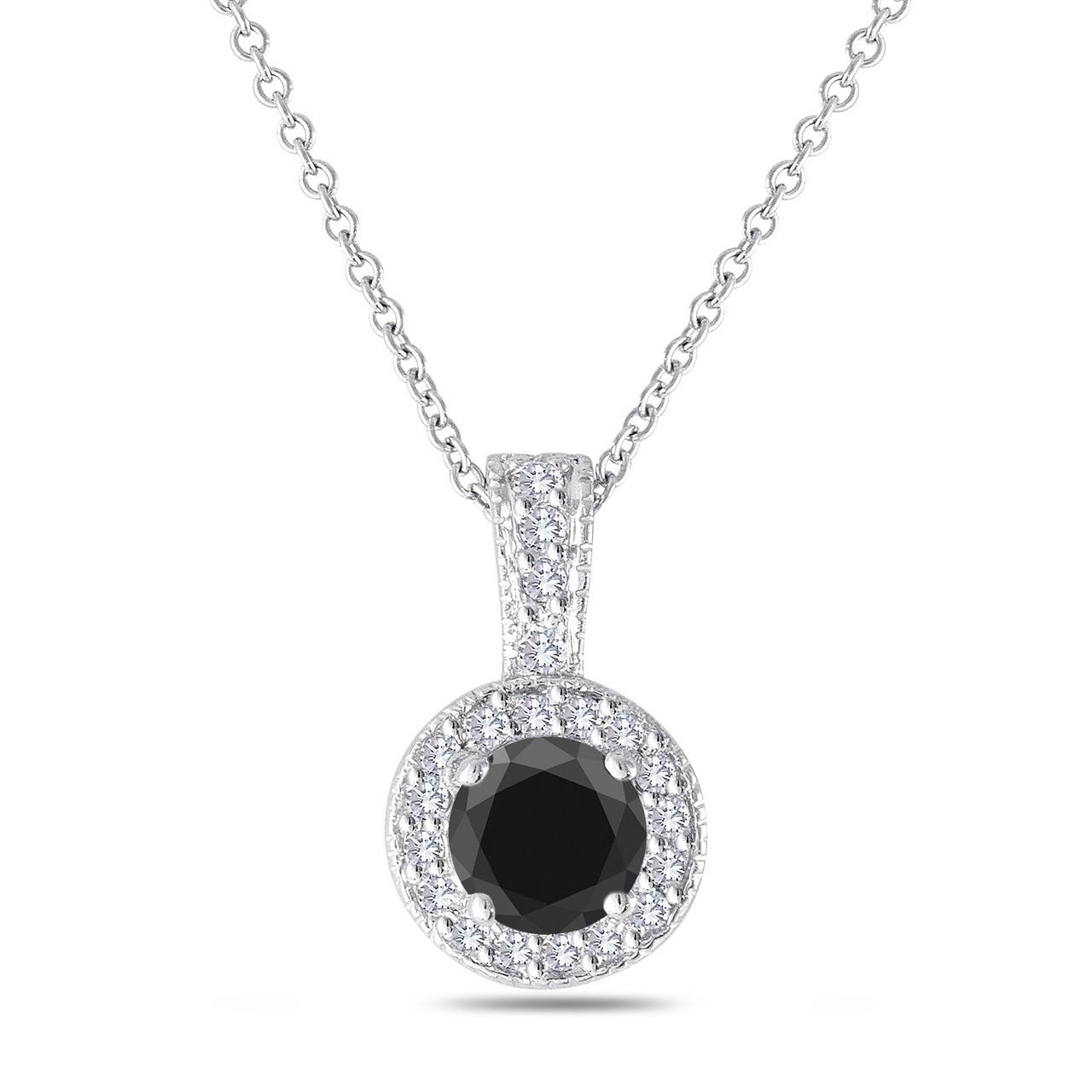 Fancy Black Amp White Diamond Pendant Necklace 14k White