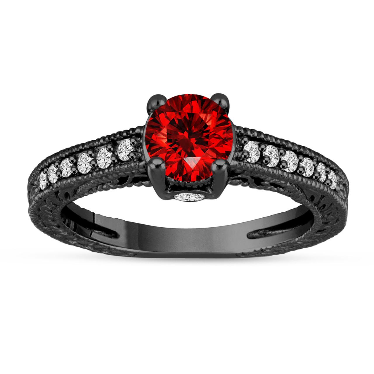 Fancy Red Diamond Engagement Ring 14K Black Gold Vintage