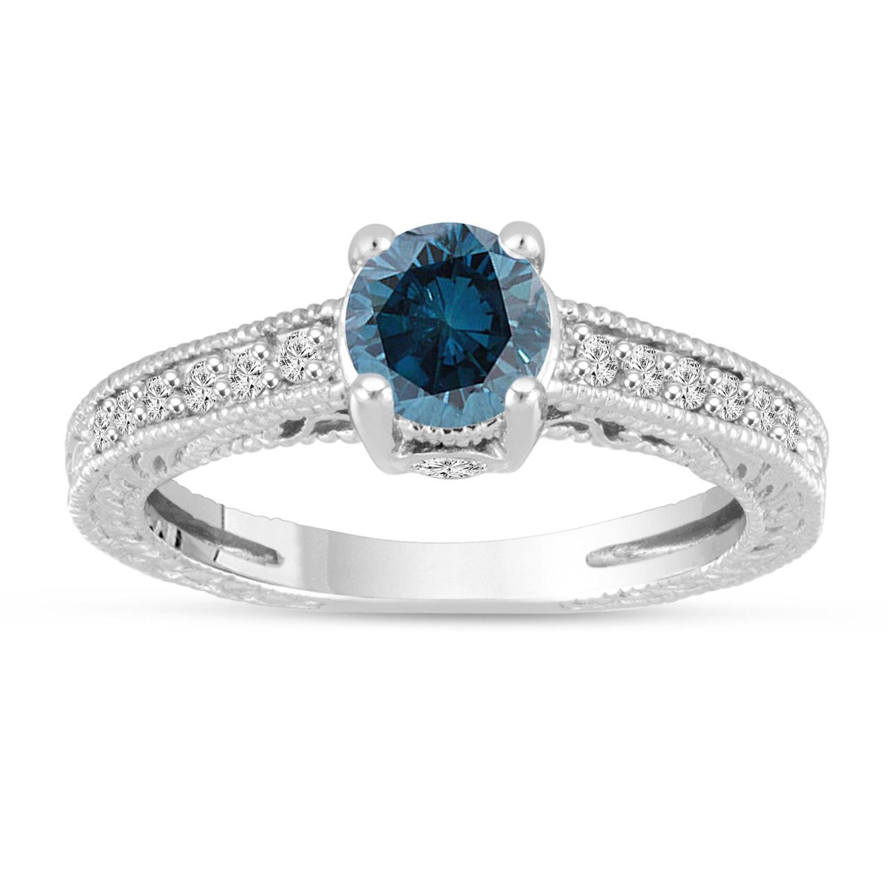 Engagement Rings Vintage Style: Platinum Blue Diamond Engagement Ring, Vintage Unique