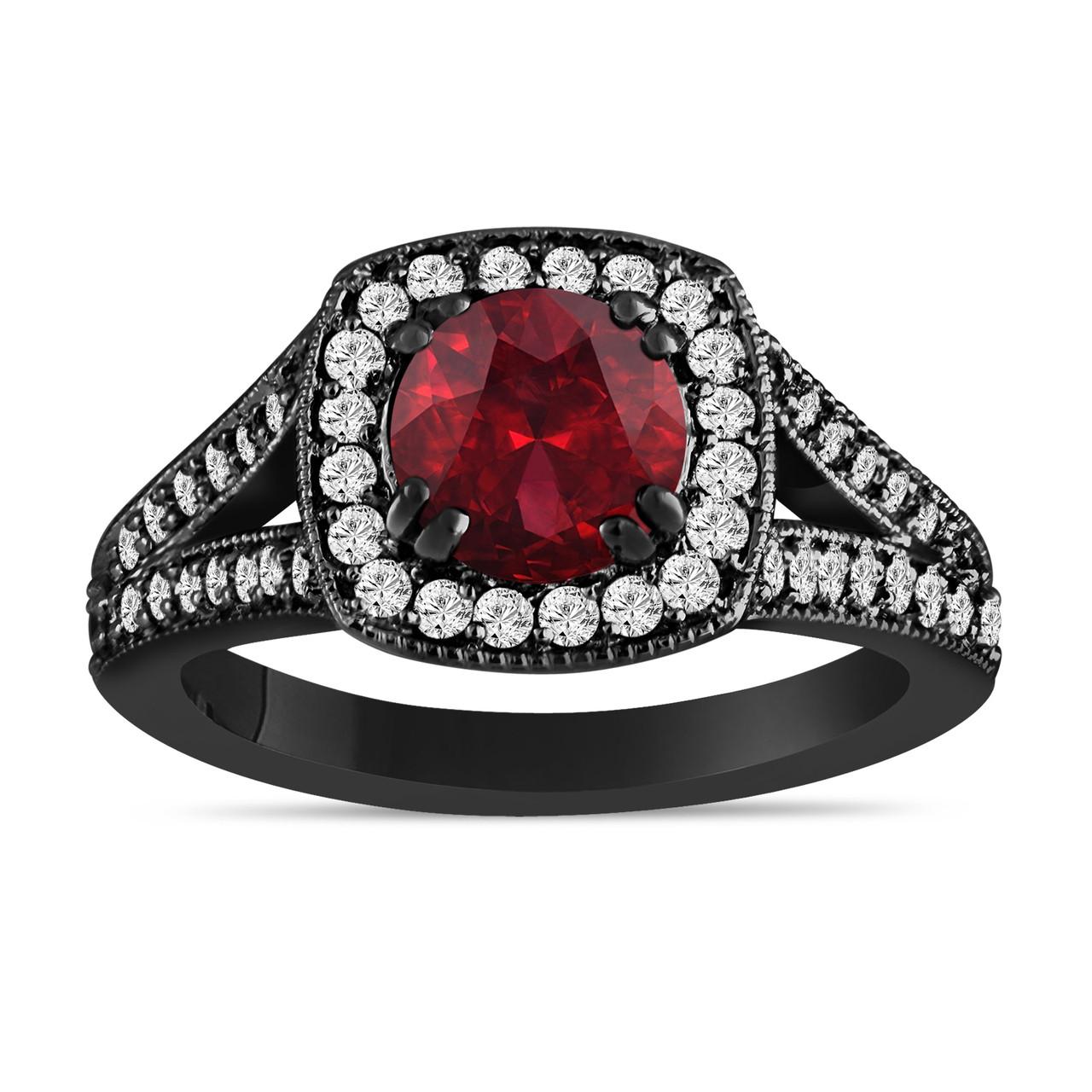 Red Garnet And Diamonds Engagement Ring 14k Black Gold