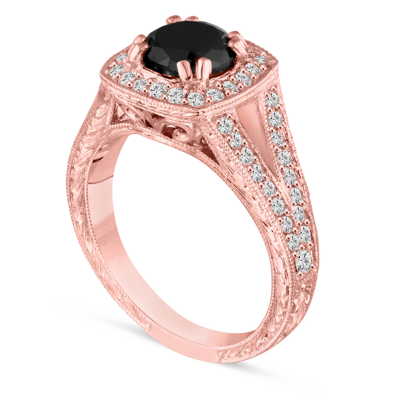 Black Diamond Engagement Ring Hand Engraved 1.60 Carat 14K Rose Gold ...