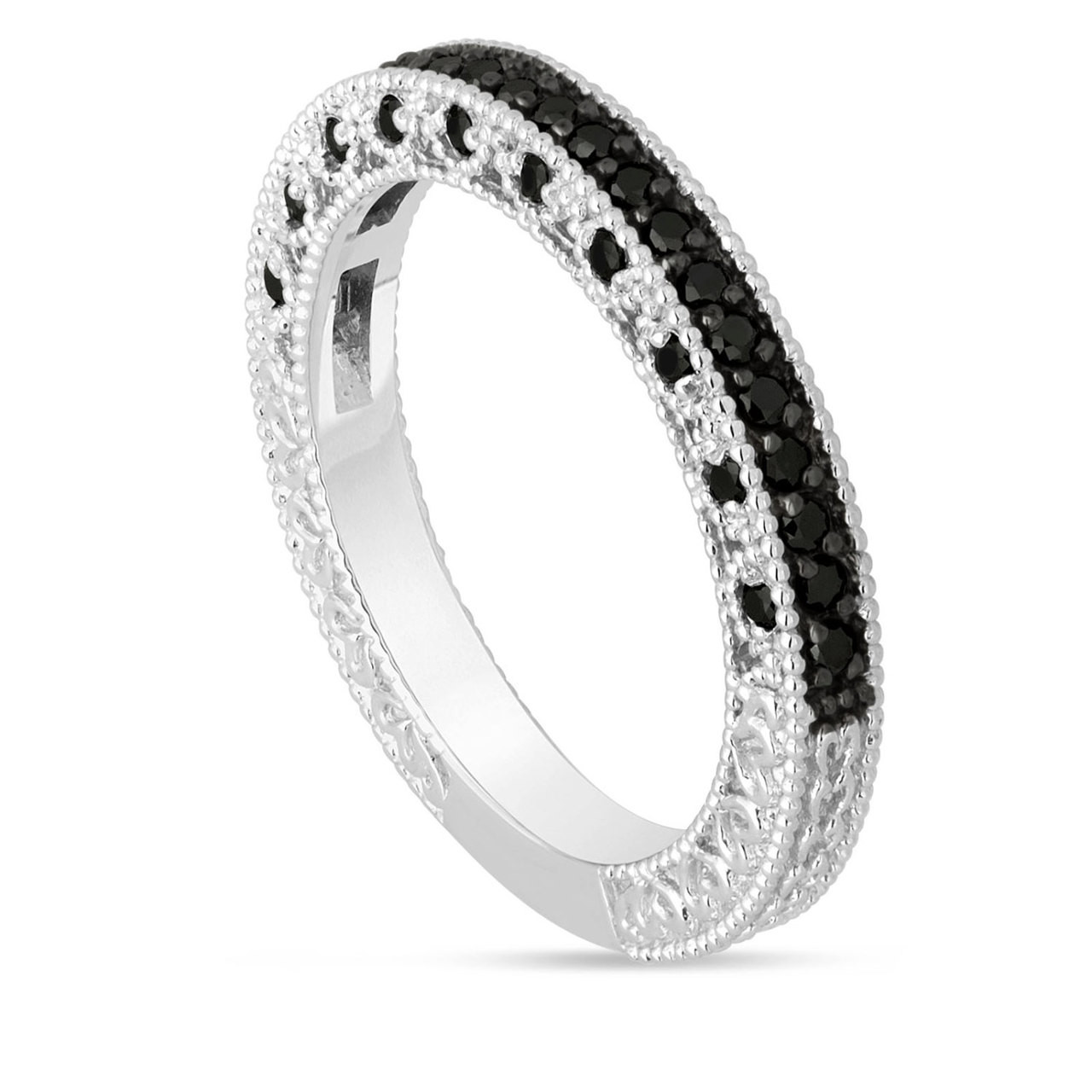 Vintage Engraved Diamond Wedding Band With Milgrain Detail: Platinum Black Diamonds Wedding Band Half Eternity Vintage