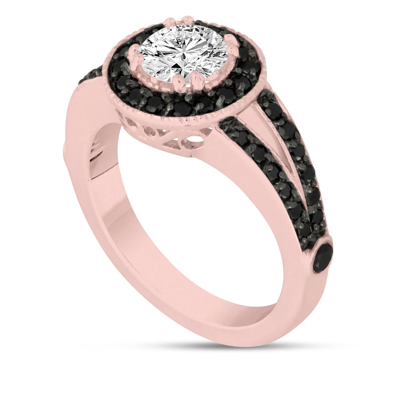 White and Fancy Black Diamonds Engagement Ring 1.56 Carat 14K Rose ...
