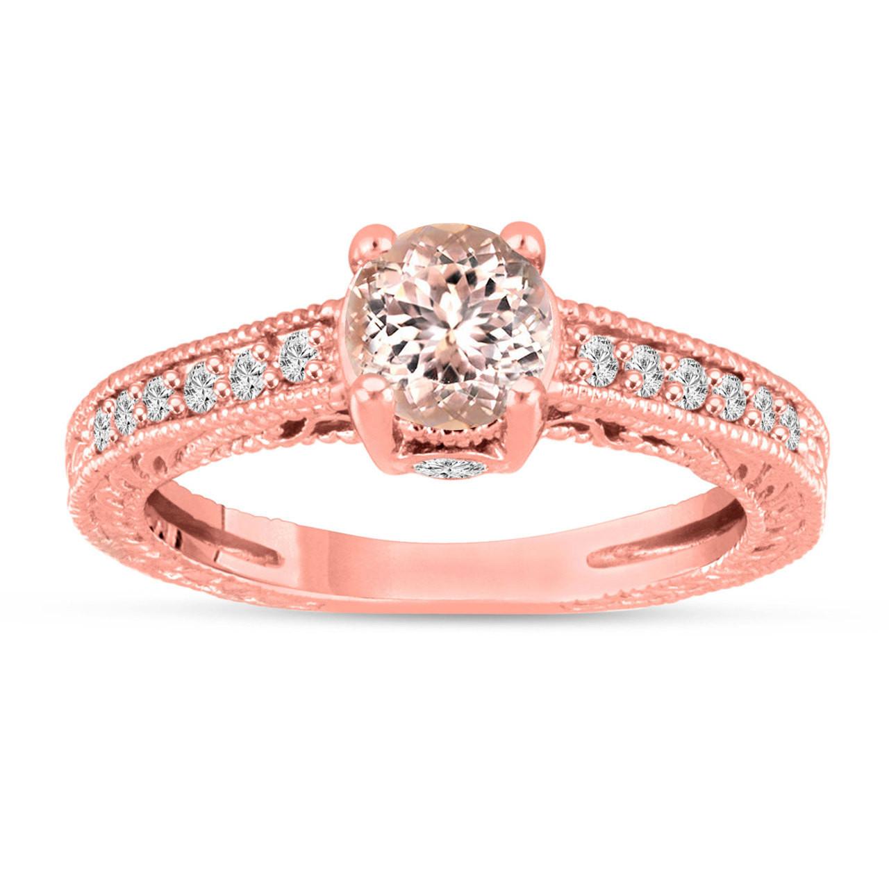 Pink Peach Morganite Engagement Ring 14K Rose Gold Vintage Antique ...