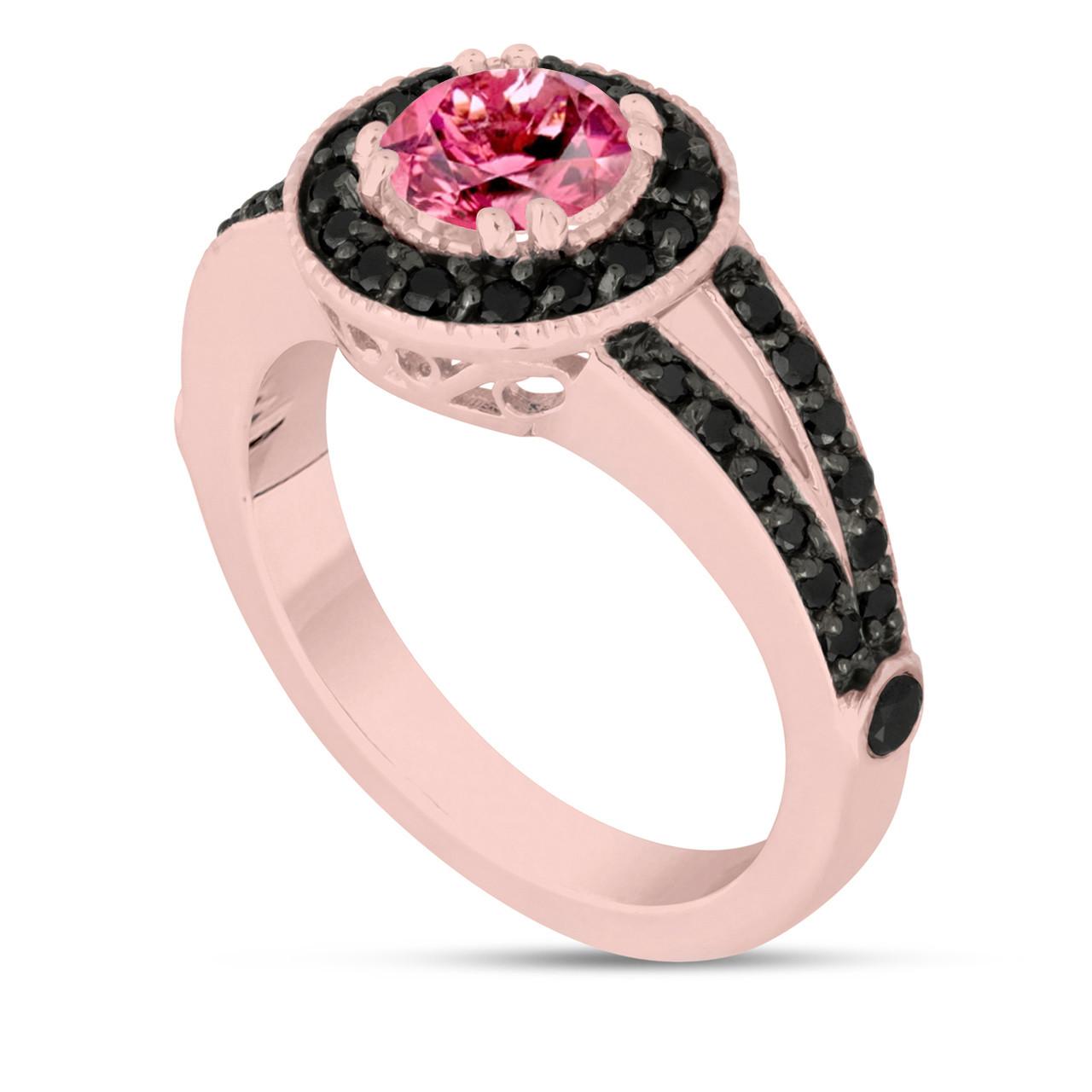 Pink Tourmaline Engagement Ring 14k Rose Gold 1.46 Carat Unique Pave ...